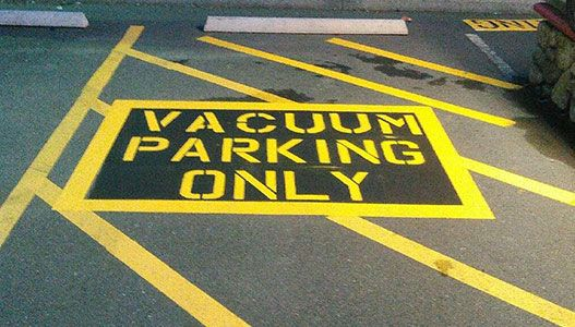 commercial line painting - vacuum parking only