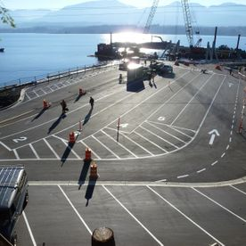 Denman West Ferry Terminal - line painting